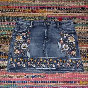 Altar'd State Embroidered Denim Skirt